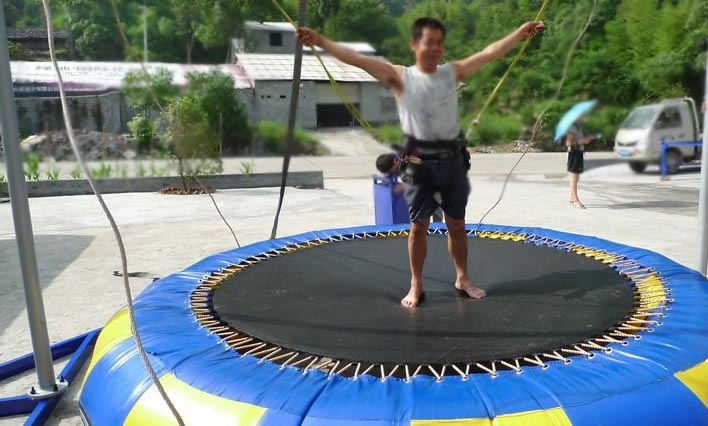 Bungee cord trampolines