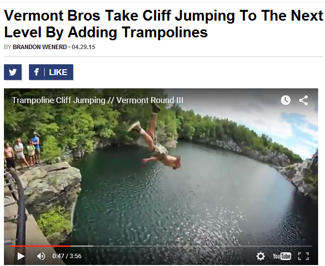 jump into the cliff from trampoline