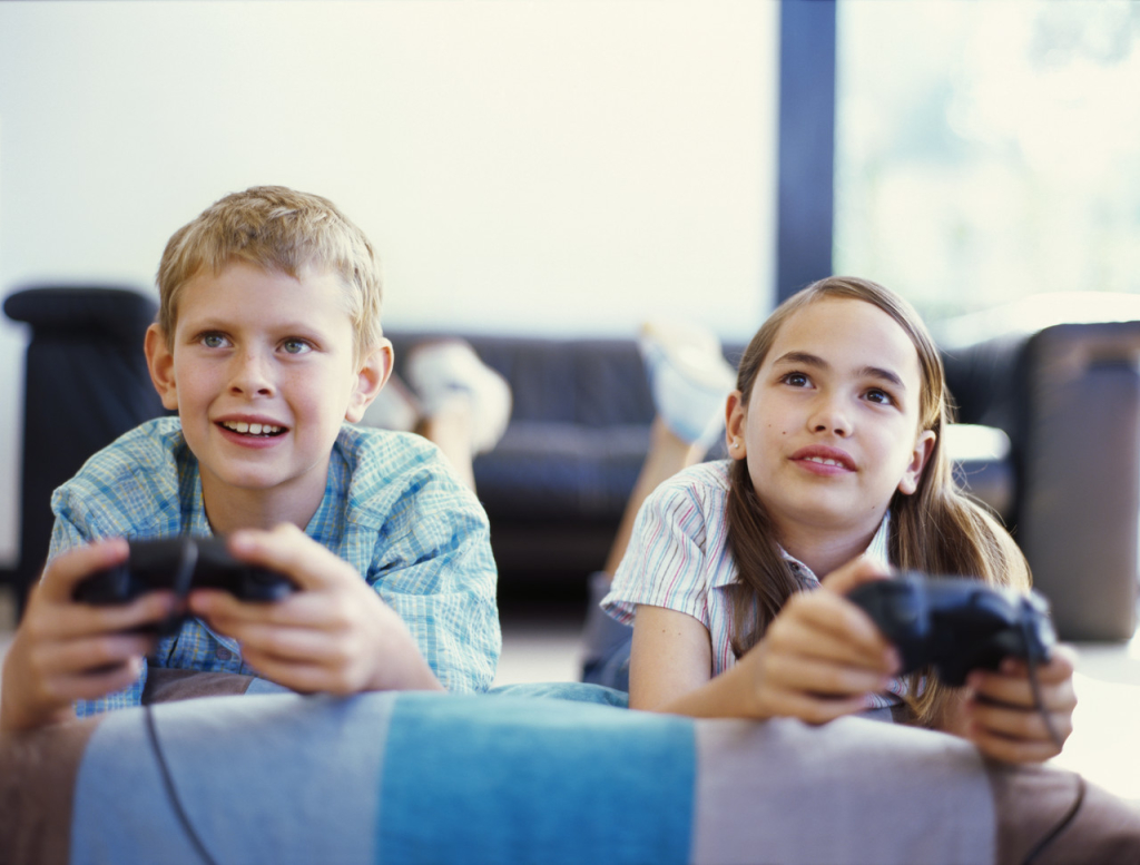 boy and a girl playing game