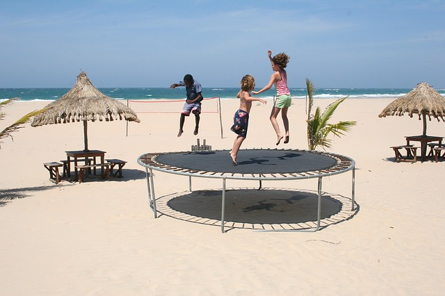play on trampoline