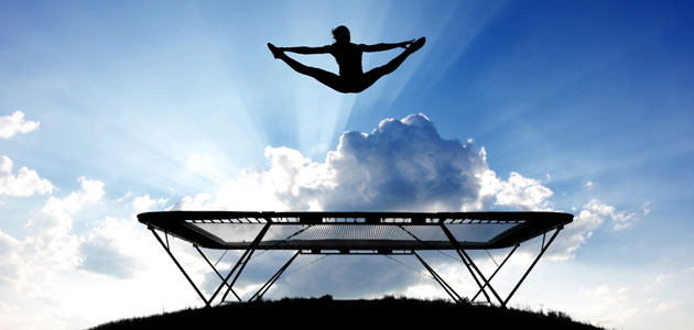 maintain balance on a trampoline