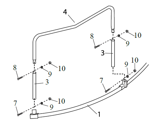 The joined section in step 1 with other components of the round trampoline